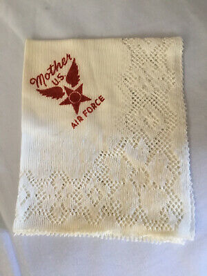 1945 Air Force Mother U.S. Handkerchief White With Red Lettering