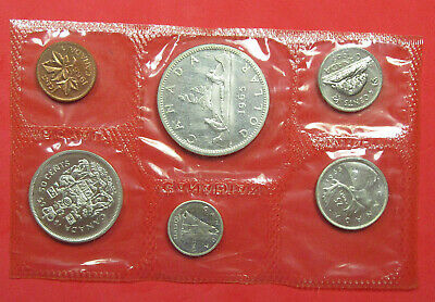 1965 Canada Proof Year Set. 6 Coins. Popular Canoe Silver dollar.  (520278)