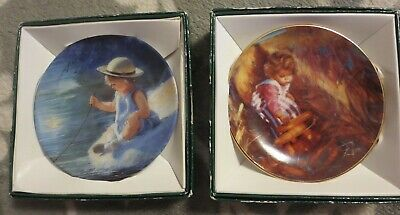 """Lot of 2 Zolan Mini Collector Plates: """"One Summer Day"""" and """"Golden Harvest"""" 3"""""""