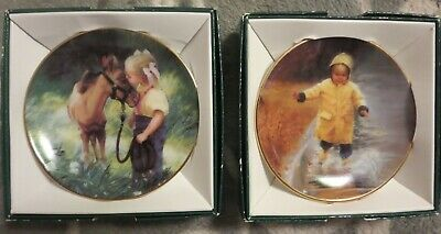 """Lot of 2 Zolan Mini Collector Plates: """"Country Friends"""" and """"Little Splasher"""" 3"""""""