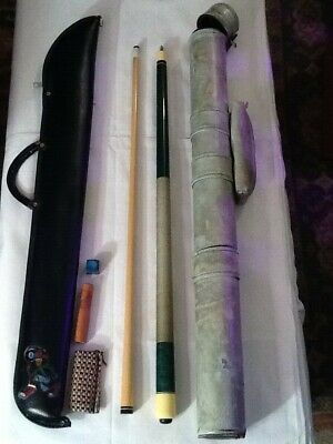 Vintage Adam 2pc green pool cue w/ soft & hard case