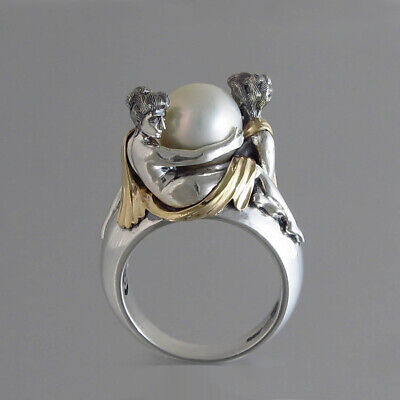 Beautiful 925 Silver Pearl Ring Women and Men Jewelry Wedding Engagement Rings