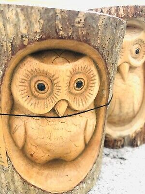 Carved Wooden Owl Garden Decoration Natural Wood Gift Chainsaw Carving Xmas Dec