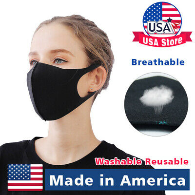Made in USA Black Face Fashion Mask Washable Reusable Unisex Adult