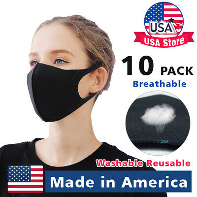 10Pack Made in USA Black Face Fashion Mask Washable Reusable Unisex Adult