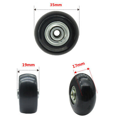 2 pcs Luggage Suitcase Replacement Wheels OD 35X17mm Axles+ Wrench