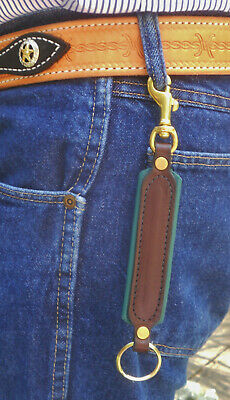 New! Genuine Leather Padded Key Fob RING Snap on Brass Hardware Made in the USA