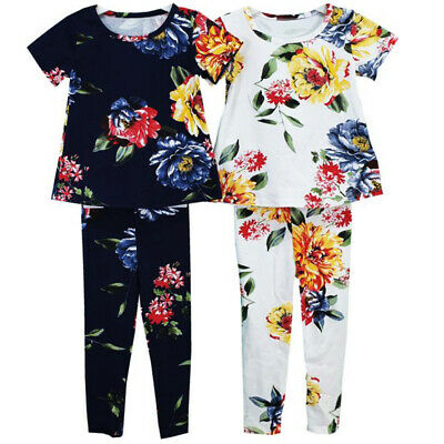 New Girls Floral Printed Top And Legging 2 Piece Set Kid Summer Outfit suit set