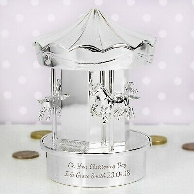Silver Plated and Blue Musical Carousel Baby Shower Christening Gift