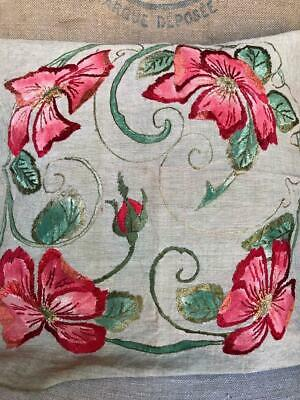 Antique 20's ARTS&CRAFTS Mission Pillow Top Linen Original Paint & Embroidery