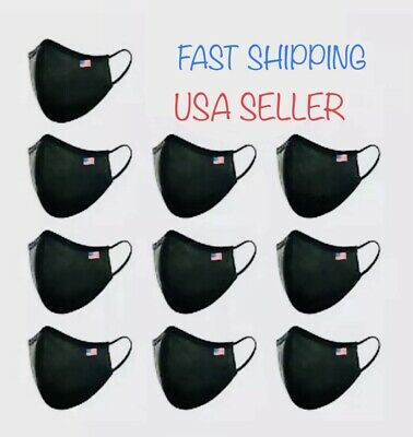 ( 5-10 Pack) Black Washable Reusable Face Mask Adult Medium, Fast Ship in USA
