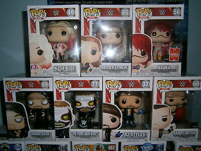 7 pc WWE Funko Pop lot; Vaulted, Retired Alexa Bliss and AJ Styles, Exclusive Fi