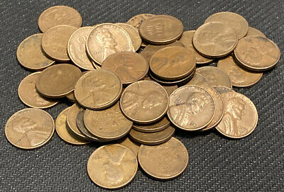 1953-D Lincoln Memorial Cent Copper Penny Roll. 50 circulated coins. LMC