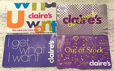 4 Collectible Gift Card Claire/'s Justice Tween Girl Store Lot Dif No Value /<2010