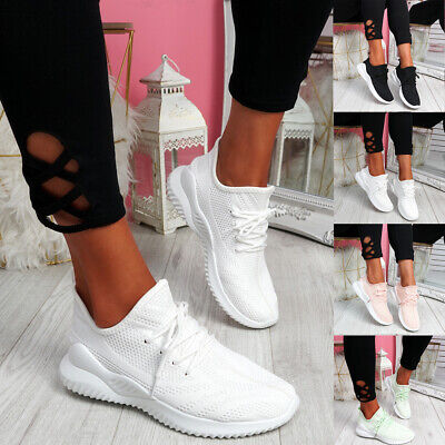 Womens Ladies Lace Up Mesh Sport Trainers Party Running Sneakers Women Shoes