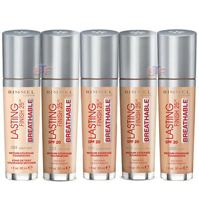 Rimmel Lasting Finish 25Hr Breathable Foundation Medium Coverage 30Ml *Select *