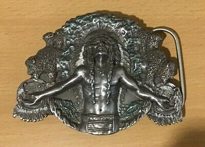 Vintage Metal Bergamot Belt Buckle Native American Indian USA 1990 -  9 x 7 cms