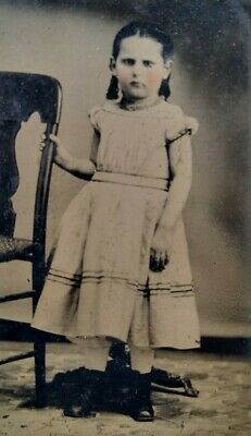 1870 Beautiful Pouty Face Young Girl Dress Tinted Cheeks Antique Tintype Photo