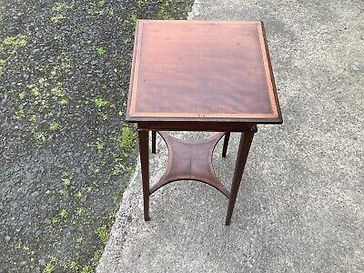 Antique Victorian Arts and Crafts Mahogany Torchere Hall Stand, Inlaid Wood,