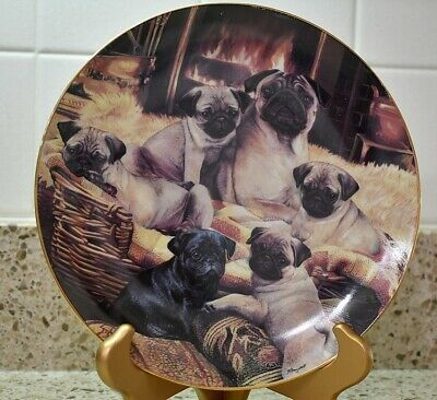 DAD-81PL Pug Dog /'Love You Dad/' Sentiment Gold Rim Plate in Gift Box Christmas