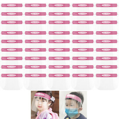 LOT OF 50 Pink Small Girls Kids Safety Full Face Shield Anti-splash HD Clear