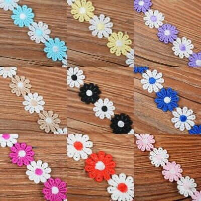 10 Yards 10mm Vintage Guipure Multi-Colour Daisy Lace Trim Red /& White