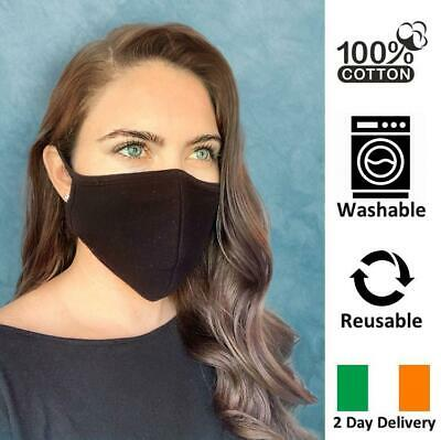 Breathable Reusable & Washable Black Face Mask Cotton Ireland 2 Day Delivery