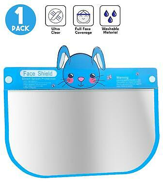 Kids Face Shield Protection Cover Guard Reusable Clear Visor Blue Rabbit 1 Pack