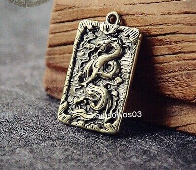 Chinese antique pure brass carved Guan Yu  amulet pendant  关羽