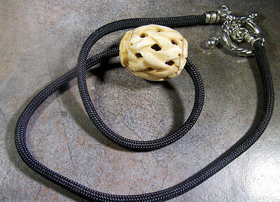 Naked and Afraid TV Show  Carved Bone Bead, Para Cord Reproduction Necklace