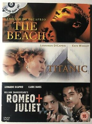 3 Film - Titanic / The Beach / Romeo and Juliet DVD 2003 Leonardo DiCaprio.