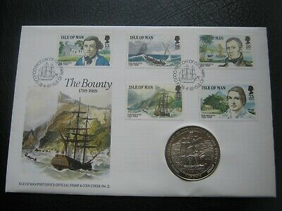 Isle of Man 1989 Cu-Ni Crown Coin & 5 Stamps Cover FDC ~ Mutiny on the Bounty #2