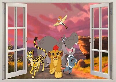 Lion King Simba 3d Smashed Wall View Sticker Poster Vinyl 672