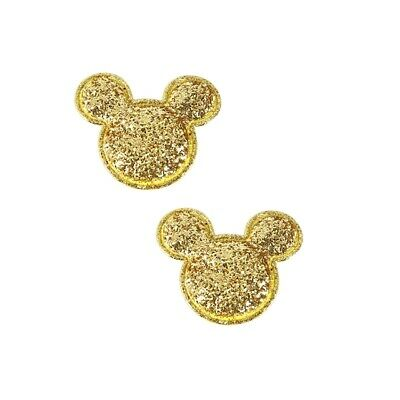 10 x 1.5 INCH GOLD SEQUIN MINNIE MICKEY MOUSE HEAD APPLIQUE HEADBANDS HAIR BOWS