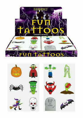 24 x HALLOWEEN Temporary Tattoos Kids Childrens Boys Girls Party Bag Fillers