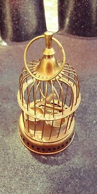 Bronze Solid Brass Amber Figurine Surprise Bird in a Cage Miniature 1789