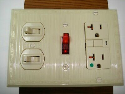 Vintage Uniline Ivory Decora GFCI Switch Outlet Cover Wall Plate 3 Gang