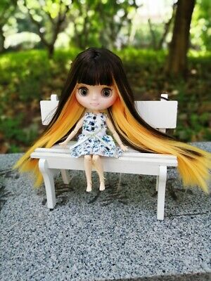 """8/"""" Neo Middie Blythe Doll Joint Body Black Mix Yellow Straight Hair From Factory"""