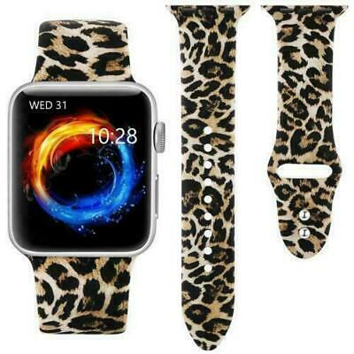 Leopard Print For Apple Watch Series 6 5 4 3 2 38-44mm Silicone Band Wrist Strap