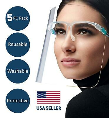 Face Shield Visor Safety Full Mouth Nose Guard Transparent Reusable Washable 5Pc