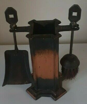 Rare Vintage Deco Copper Fireplace Tools Companion Set Metal