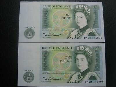 Bank of England SOMERSET UNC One Pound Two 2x £1 Banknotes - Consecutive Numbers