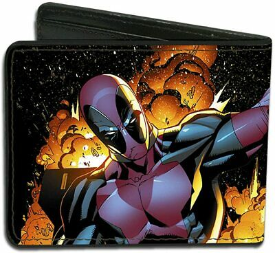 Marvel Comic Deadpool Leather Money Wallet Bifold Superhero Gift Buckle Down NEW