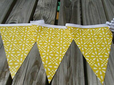 Yellow Floral Geometrical Pvc Garden/Indoor Bunting  3 Mtrs Approx 10Ft