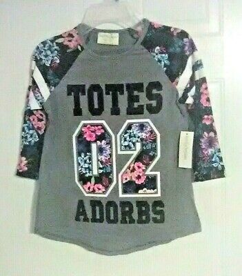 Bobbie Brooks Girl's Graphic Top with Floral Accents - TOTES ADORBS - M (7-8)