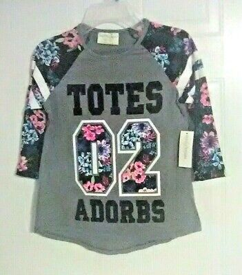 Bobbie Brooks Girl's Graphic Top with Floral Accents - TOTES ADORBS - L (10-12)