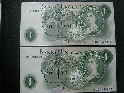 Bank of England PAGE UNC One Pound Two 2x £1 Banknotes - Consecutive Numbers