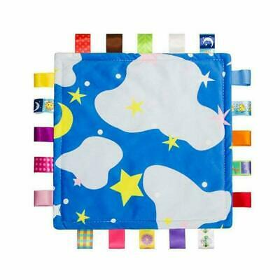 Baby Blanket Pillow Comforter Taggy 3 psc Set Gift Blue Feather Print Boy Girl