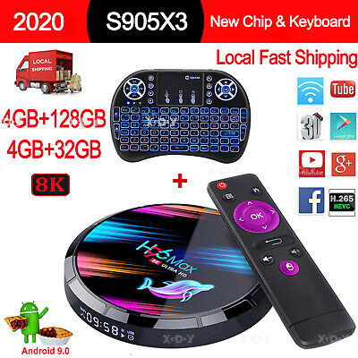 H96 MAX X3 4+128G 8K Android 9.0 5G WLAN BT TV BOX Keyboard Amlogic UHD Media