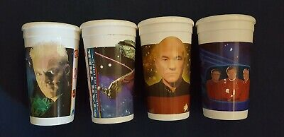 Star Trek Generations 1994 Set of 4 Vintage 32 oz. Jack in the Box Cups w/lids